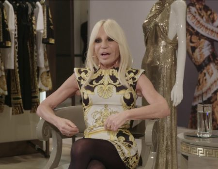 Donatella Versace and Eva Chen at Saks Fifth Avenue